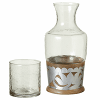 Mango Wood Carafe with Silver Floral Embellishment