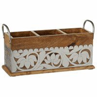 Mango Wood Divided Caddy with Silver Floral Embellishment