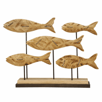 Mango Wood Fish School Statue