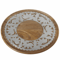 Mango Wood Lazy Susan with Silver Floral Embellishment