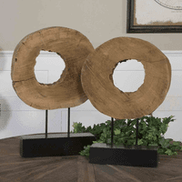 Mango Wood Sculptures - Set of 2