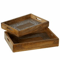 Mango Wood Tray Set with Silver Floral Embellishment