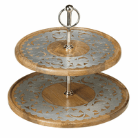 Mango Wood Two Tier Sever with Silver Embellishment
