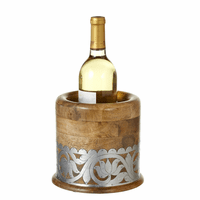 Mango Wood Wine Chiller with Silver Floral Embellishment