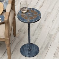 Marina Drink Table with Etched Compass Top