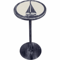 Marina Drink Table with Etched Sailboat Top