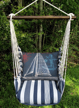 Marina Stripe with Sailboat Swing Set - Blue