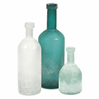 Mariner Handblown Glass Bottles - Set of 3