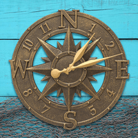 Maritime Bronze Indoor/Outdoor Compass Clock - 16 Inch