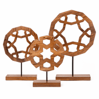 Medallion Cutout Wood Sculptures - Set of 3
