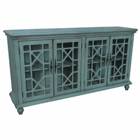 Mendenhall 4 Geometric Glass Door Teal Sideboard