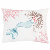 Mermaid Coral Indoor/Outdoor Embroidered Pillow