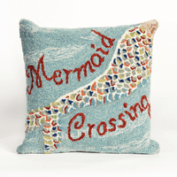 Mermaid Crossing Water Indoor/Outdoor Pillow