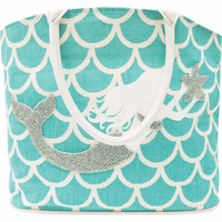 Mermaid on Teal Scales Tote Bag