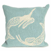 Mermaid Sisters Aqua Indoor/Outdoor Pillow