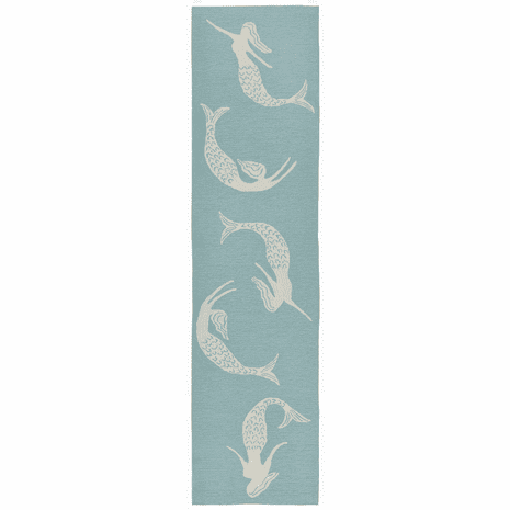 Mermaid Sisters Aqua Indoor/Outdoor Rug - 2 x 8