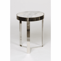 Metal and Stone Accent Table - Nickel