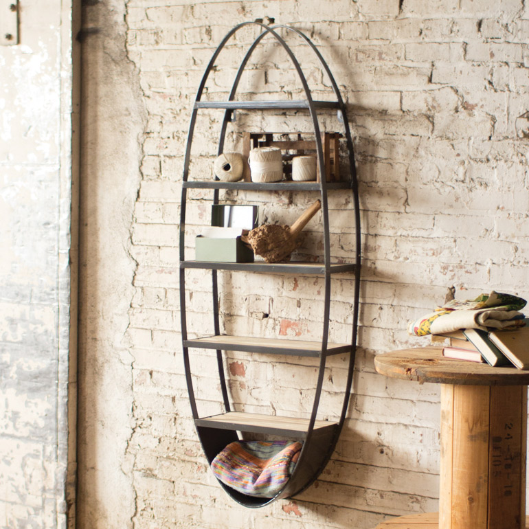 Beach Style Furniture Metal And Wood Oval Wall Shelf Bella Coastal Decor
