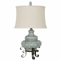 Metal Footed Pale Blue Table Lamp
