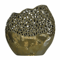 Metallic Sage Green Lacework Ceramic Vase