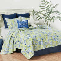 Miami Beach Green Quilt Set - Full/Queen