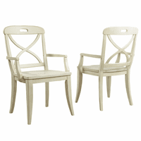 Millbrook X-Back Buttermilk Dining Arm Chairs - Set of 2