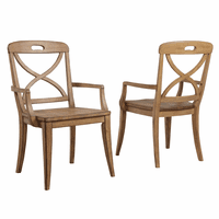 Millbrook X-Back Sand Dining Arm Chairs - Set of 2