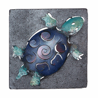 Mini Square Blue Turtle Metal Wall Art