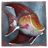 Mini Square Bright Angelfish Metal Wall Art