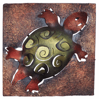 Mini Square Brown & Green Turtle Metal Wall Art