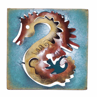 Mini Square Colorful Seahorse Metal Wall Art