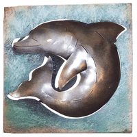 Mini Square Dolphin Metal Wall Art