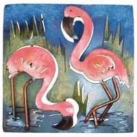 Mini Square Flamingos Duo Metal Wall Art