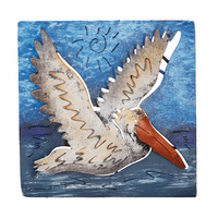 Mini Square Flying Pelican Metal Wall Art