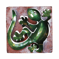 Mini Square Gecko Metal Wall Art