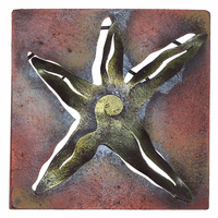 Mini Square Green Starfish Metal Wall Art