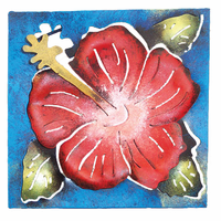 Mini Square Hibiscus Metal Wall Art