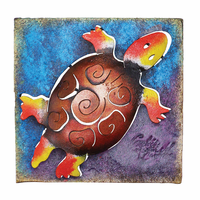 Mini Square Multicolor Turtle Metal Wall Art