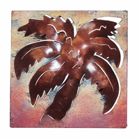 Mini Square Muted Palm Metal Wall Art