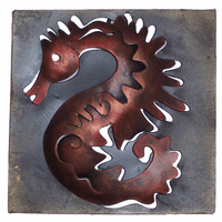 Mini Square Muted Seahorse Metal Wall Art