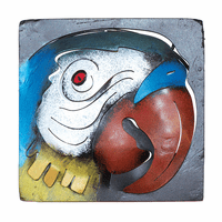 Mini Square Parrot Metal Wall Art