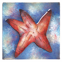 Mini Square Patriotic Starfish Metal Wall Art
