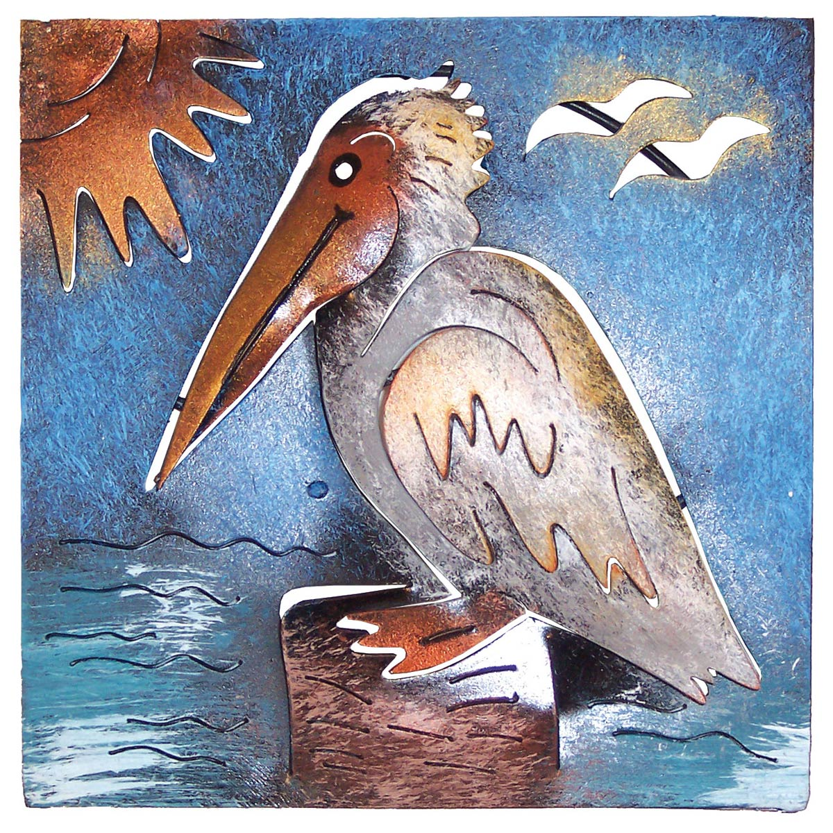 Beach Wall Art Mini Square Pelican Metal Wall Art