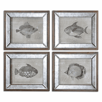Mirrored Fish Framed Wall Art - Set of 4