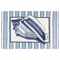 Mollusk Shell on Stripes Accent Rug