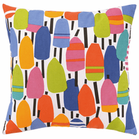Multicolor Buoys Printed Outdoor Pillow - Square