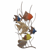 Multicolor Fish Swimming Right Metal Wall Art