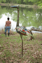 Multicolor Recycled Iron Beach Bird
