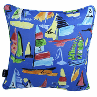 Multicolored Boats Indoor/Outdoor Pillow - 17 x 17