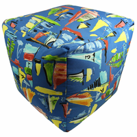 Multicolored Boats Indoor/Outdoor Square Pouf